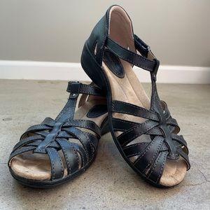 Earth Origins Leather Sandal Black 7.5 Women Shoes